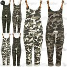 Womens Army PU Belt Pocket Dungaree Wide Strap Playsuit Ladies Military Jumpsuit