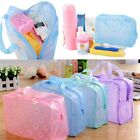 Floral Transparent Waterproof Cosmetic Wash Bag Toiletry Bathing Storage Pouch