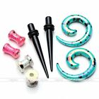4Pair Acrylic Ear Plugs Screwed Tunnels Gauges Tapers Expander Stretcher Kit Set