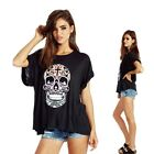 2016Summer Short-sleeve Top Casual Loose Skull Printed Tee T-shirts Blouse Cool