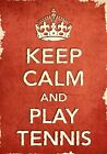 ACR6 Vintage Style Red Keep Calm Play Tennis Sport Funny Poster Print A2/A3/A4