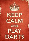 ACR10 Vintage Style Red Keep Calm Play Darts Sport Funny Poster Print A2/A3/A4