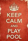 ACR9 Vintage Style Red Keep Calm And Play Pool Sport Funny Poster Print A2/A3/A4