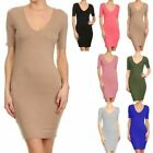 Half Sleeve Solid Plain V Neck Bodycon Dress Casual Cute Rayon SpandexS M L