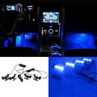 12V 4x3LED Car Charge 4in1 Atmosphere Licht-Lampe Blue Glow Car Interior Decor