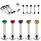 5x 16G 2mm Czech Crystal Labret Monroe Lip Ring Steel Bar Barbell Stud Piercing