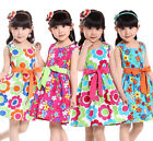 Baby Girls Kids Princess Children Party Flower Print Bow Gown Formal Dresses 3-9