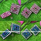2x Shinying Crystal Rhinestone Square Earrings Ear Stud Women Party Jewelry Gift
