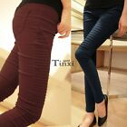Fashion Women's Casual Career Leggings Pencil Pants Skinny Pleated Trousers TXWD
