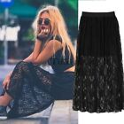 Womes Lace Floral Pleated Double Layer Long Maxi Elastic Waist Skirt Dress TXWD