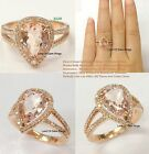 8x12mm Pear Cut Pink Morganite Diamonds Engagement Ring 14K Rose Gold Prong Set
