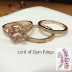 3 Ring Sets! Round Morganite Diamonds Wedding Engagement,14K Yellow Gold,Bridal
