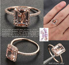 Solid 14K Rose Gold 6x8mm Emerald Cut Morganite Engagement Wedding Diamonds Ring