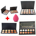 Hot 10/12/15/20 Colors Contour Face Cream Makeup Concealer Palette+Sponge Puff