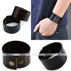 1x Men Women Punk Cool Belt Multi-Strand Genuine Leather Bracelet Wristband Cuff