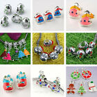 Christmas Xmas Tree Socks Snowman Enamel Crystal European Charms Beads Pendant