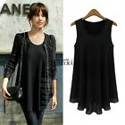 New Korean Fashion Womens Chiffon Tops Sleeveless Solid Shirt Casual Blouse Vest