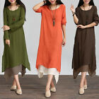 Women Cotton Linen Vintage Dress Casual Loose Boho Long Maxi Dresses Plus LA