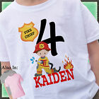 BOY FIRETRUCK BIRTHDAY SHIRT PERSONALIZED NAME AGE FIRE TRUCK FIREMAN