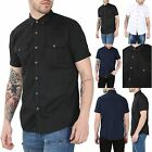 Mens Plain Front Pockets Button Down Collared Short Sleeve Casual Smart Shirt