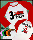 2 SIDED FIRETRUCK BIRTHDAY RAGLAN SHIRT WITH NAME AND AGE FIREMAN