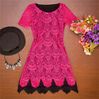 Sexy Women Summer Short Casual Evening Party Short Sleeve Cocktail Lace Dress