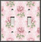 Switch Plate Cover - Pink Green Victorian Rose - Home Decor/Nursery Decor Roses