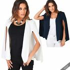 Womens Open Split Long Sleeve Cape Blazer Casual Fashion Suit Poncho Jacket Coat
