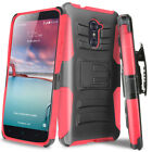 For ZTE Imperial Max Kirk Max Duo Rugged Shockproof Case Belt Clip Holster Stand