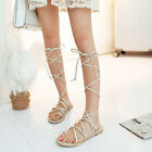 Gladiator fashion flat heel womens sandals boots sexy strapy punk party shoes