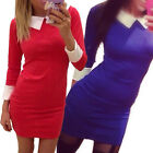 Vintage Womens Office Party Doll Collar Bodycon Stretch Career Dresses