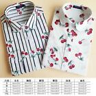 Women Ladies Cotton Lapel Blouse Long Sleeve Tops Casual Floral Print Shirt Tops