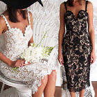 Sexy Womens Bodycon Strappy Floral Lace Crochet Evening Party Ladies Midi Dress