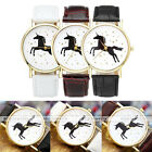 Unisex Leather Watch Black Unicorn Gold Stars Pattern Analog Quartz Wrist Watch