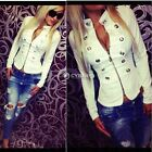 Fashion Women Long Sleeve Button Casual Blazer Suit Jacket Coat Short Style Tops