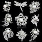 Vintage Silver Flower Rhinestone Crystal Wedding Bridal Bouquet Pearl Brooch Pin