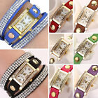 Women Girls Rhinestone Wrap PU Leather Bracelet Analog Quartz Alloy Wrist Watch