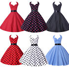 Vintage 1950's Halter Polka Dots Pin Up Housewife Prom Party Retro Swing Dresses