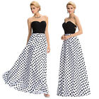 Long Chiffon Strapless Sweetheart Dot Formal Gown Evening Prom Party Dress Beach