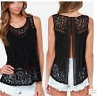New Women's Plus Size Lace Blouse Shirts Ladies Sleeveless Casual Crochet Tops