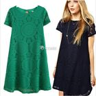 Women's Summer Mini Cocktail Party Dress Short Sleeve Lace Dresses BOHO Floral