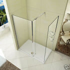 L Shape Wet Room Shower Enclosure Walk in Glass Cubicle Fixed Panel Stone Tray