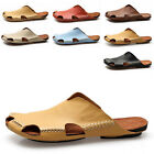 Classic Men's Cowhide Leather Summer Casual Shoes Slippers Sandals Beach Shoes