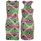 Womens Aztec Diamond Print Ladies Sleeveless Muscle Back Vest Bodycon Mini Dress