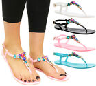 Ladies Beach Summer Sliders Diamante Jelly Flip Flop Sandals Womens Shoes Size
