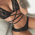 Women Summer Sexy Black Lace Up Bikini Set Bra Underwear Suit Lingerie Set LA