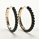 Women Charm Faux Pearl Earings Chic Beads Gold Plated Ear Hoop Circle EarringsLA