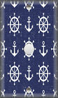 Metal Light Switch Plate Cover - Nautical Wheel Anchor Navy Blue Coastal Decor