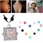 1Pc Square Charming Locket Pendant Pregnancy Necklace With Bell Ball NEW Gift