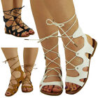 WOMENS LADIES SUMMER CUTOUT LOW HEEL FLAT GLADIATOR LACE UP SANDALS SHOES SIZE
